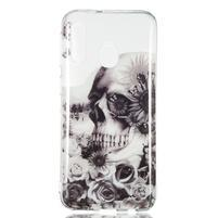 Printy silikónový obal na Samsung Galaxy A40 - lebka a kvety