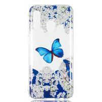 Printy silikónový obal na Samsung Galaxy A40 - motýle a biele kvety