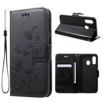 Butterfly PU kožené puzdro na Samsung Galaxy A40 - čierne