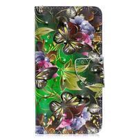 Decor PU kožené peněženkové púzdro na Samsung Galaxy A40 - zlatý motýľ