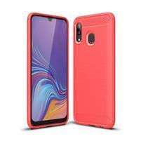Carbon gélový odolný obal na Samsung Galaxy A40 - červený
