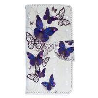 Decor PU kožené peněženkové púzdro na Samsung Galaxy A40 - krásny motýľ
