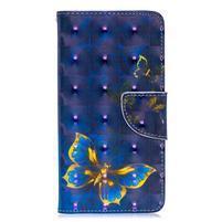 Decor PU kožené peněženkové púzdro na Samsung Galaxy A40 - modrý motýľ