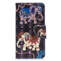 Decor PU kožené peněženkové púzdro na Samsung Galaxy A40 - slon