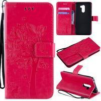 Tree PU kožené peňaženkové puzdro pre Xiaomi Pocophone F1 - rose
