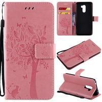 Tree PU kožené peňaženkové puzdro pre Xiaomi Pocophone F1 - ružové