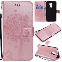 Tree PU kožené peňaženkové puzdro pre Xiaomi Pocophone F1 - ružovozlaté