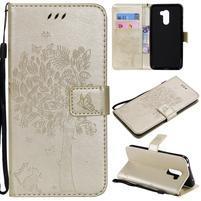 Tree PU kožené peňaženkové puzdro pre Xiaomi Pocophone F1 - zlaté