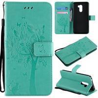 Tree PU kožené peňaženkové puzdro pre Xiaomi Pocophone F1 - cyan