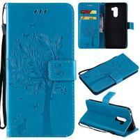 Tree PU kožené peňaženkové puzdro pre Xiaomi Pocophone F1 - modré