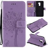Tree PU kožené peňaženkové puzdro pre Xiaomi Pocophone F1 - fialové