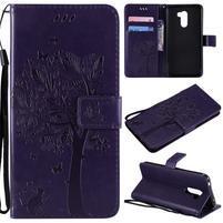 Tree PU kožené peňaženkové puzdro pre Xiaomi Pocophone F1 - tmavofialové