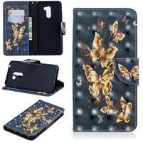 Patt PU kožené peňaženkové puzdro na mobil Xiaomi Pocophone F1 - zlatý motýľ