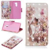 Patt PU kožené peňaženkové puzdro na mobil Xiaomi Pocophone F1 - mačka a kvet
