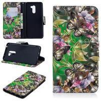 Patt PU kožené peňaženkové puzdro na mobil Xiaomi Pocophone F1 - motýľ a kvet