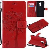 Tree PU kožené peňaženkové puzdro pre Xiaomi Pocophone F1 - červené