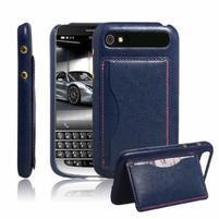 PU kožený kryt se stojánkem pre BlackBerry Classic - modré