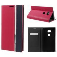 Klopové PU kožené pouzdro na Huawei Honor 5X - červené