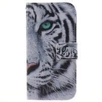 Peňaženkové puzdro pre mobil LG K10 - biely tygr