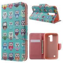 Wall peňaženkové puzdro pre LG K10 - malej sovy