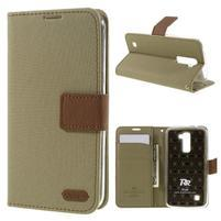 Style PU kožené puzdro pro LG K10 - khaki