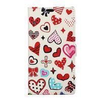 Style peňaženkové puzdro pre LG K4 - koláž srdiečok
