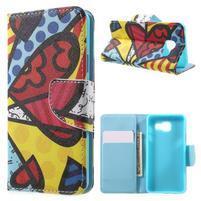 Peňaženkové puzdro pre mobil Samsung Galaxy A3 (2016) - farebný motýl