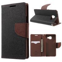 Goospery peňaženkové puzdro pre Samsung Galaxy A3 (2016) - čierne/hnedé