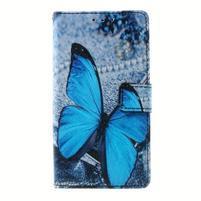 Peňaženkové puzdro na mobil Lenovo A536 - modrý motýl