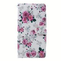 Peňaženkové puzdro pre mobil Lenovo A536 - kvetiny