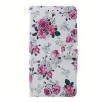 Peňaženkové puzdro na mobil Lenovo A536 - květiny