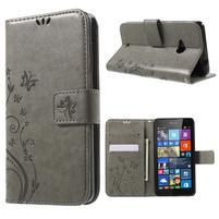 Butterfly peňaženkové puzdro na Microsoft Lumia 535 - šedé