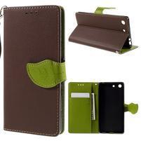 Blade Peňaženkové puzdro pre Sony Xperia M5 - hnedé