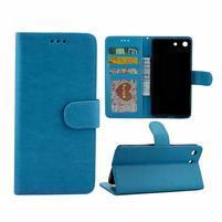 Horse PU kožené pouzdro na Sony Xperia M5 - modré