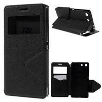 Diary puzdro s okienkom na Sony Xperia M5 - čierne