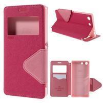 Diary puzdro s okienkom na Sony Xperia M5 - rose