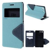Diary puzdro s okienkom na Sony Xperia M5 - svetlomodré