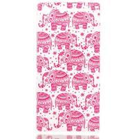 Style gélový obal pre Sony Xperia M5 - ružoví slony