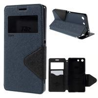 Diary puzdro s okienkom na Sony Xperia M5 - tmavomodré
