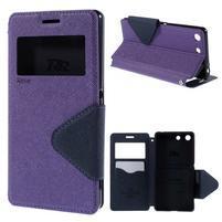 Diary pouzdro s okýnkem na Sony Xperia M5 - fialové