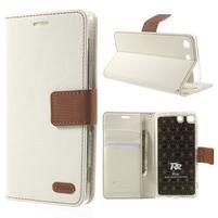 Wall PU kožené puzdro pre mobil Sony Xperia M5 - biele