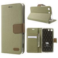 Wall PU kožené puzdro pre mobil Sony Xperia M5 - khaki