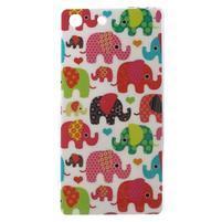 Gélový obal pre mobil Sony Xperia M5 - slony