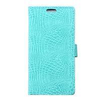 Peňaženkové puzdro s textúrou krokodílej kože na Sony Xperia M5 - cyan