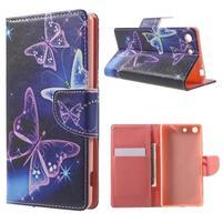 Stand Peňaženkové puzdro pre Sony Xperia M5 - magičtí motýľe
