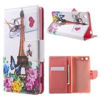 Stand Peňaženkové puzdro pre Sony Xperia M5 - ruže s Eiffelovou vežaí