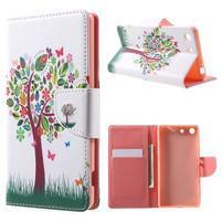 Stand Peňaženkové puzdro pre Sony Xperia M5 - kvetinový strom