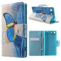 Stand Peňaženkové puzdro pre Sony Xperia M5 - motýľek
