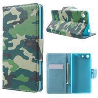 Stand Peňaženkové puzdro pre Sony Xperia M5 - kamufláž