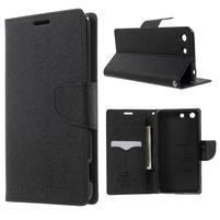 Goos PU kožené peňaženkové puzdro pre Sony Xperia M5 - čierne
